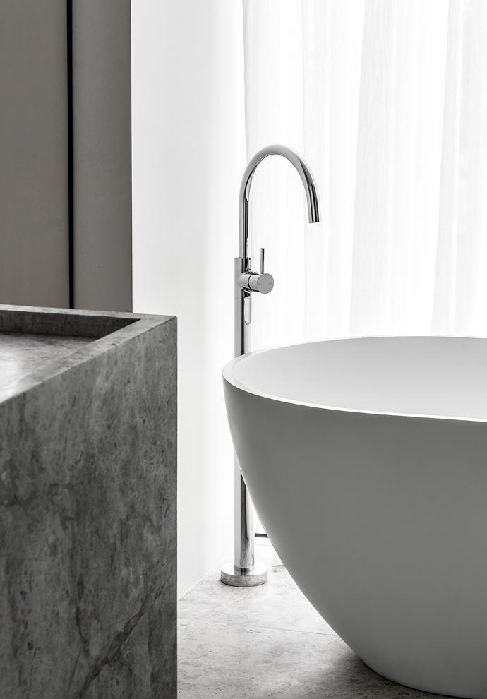 The master ensuite features an Agape 'Normal' freestanding bath from Artedomus and Astra Walker 'Icon' tapware.
