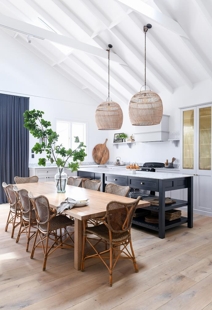 With its cathedral ceilings and solid French oak flooring from Enoak, the cottage's extension is a drawcard for gatherings with family and friends. Interior design studio Birch & Moss worked with Class Kitchens and Joinery to create a space that hinted at traditional style but still felt modern with the inclusion of integrated appliances.