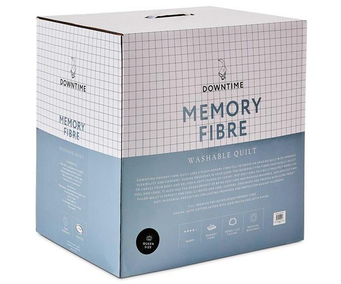 """**Downtime Memory Fibre Quilt, $219.99 - $429.99, [Adairs](https://www.adairs.com.au/bedroom/quilts/downtime/memory-fibre-quilt/