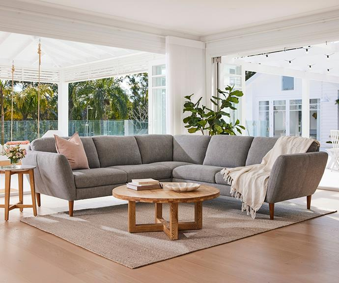 """The Ryley modular sofa from [Plush](https://www.plush.com.au/modulars/ryley-modular target=""""_blank"""" rel=""""nofollow"""") is customisable in a range of configurations and covers. Its fixed seat cushions are made with a comfortable foam that retains its shape over time. Photo: Supplied."""