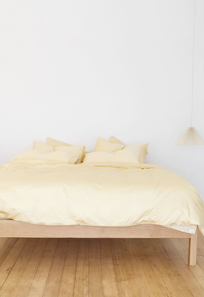 """**Eden Cotton in Butter, $55, [The Sheet Society](https://www.thesheetsociety.com.au/collections/quilt-covers/products/bedding-butter