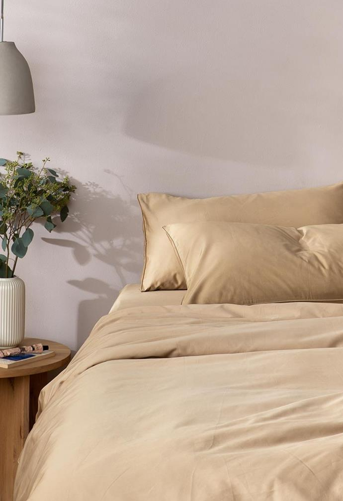 """**Eden Cotton - Camel, $55, [The Sheet Society](https://www.thesheetsociety.com.au/collections/quilt-covers/products/bedding-camel