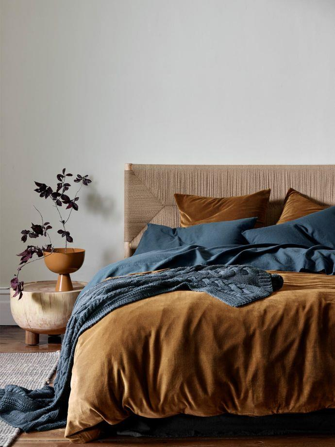 """**Luxury Velvet Quilt Cover in Tobacco, $299, [Aura Home](https://www.aurahome.com.au/luxury-velvet-quilt-cover-tobacco