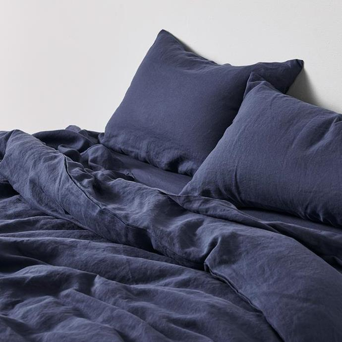 """**100% Linen Duvet Cover in Midnight Blue, $220, [In Bed](https://inbedstore.com/collections/duvet-covers/products/100-linen-duvet-cover-in-midnight-blue