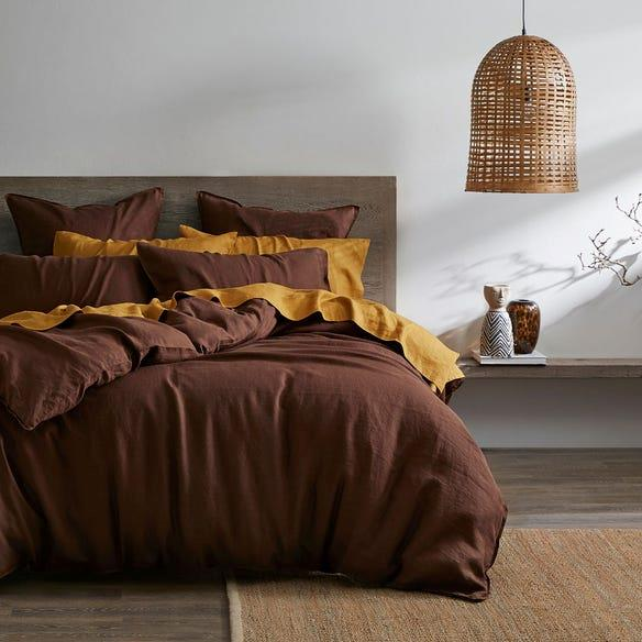 """**Morgan & Finch White Label Milano Linen Quilt Cover in Chocolate, Queen, $199.95, [Bed, Bath N' Table](https://www.bedbathntable.com.au/milano-chocolate-010803