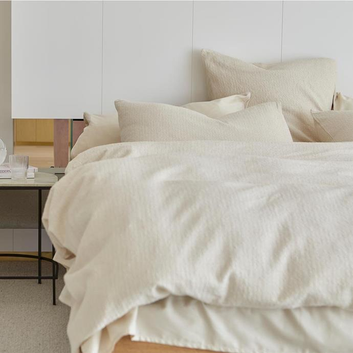 """**Lola Bouclé Quilt Cover in Warm White, Queen, $180, [The Sheet Society](https://www.thesheetsociety.com.au/products/boucle-quilt-cover-warm-white?variant=32676663722077&currency=AUD&dfw_tracker=31900-32676663722077?utm_source=google&utm_medium=organic&utm_campaign=surfaces&utm_content=surfaces_across_google&gclid=Cj0KCQjw7pKFBhDUARIsAFUoMDYxvh6SvdWca5rnFkdJLGB_8oLsjfT7BH44V2TPKqmJL6yKTJgaP-oaAu90EALw_wcB