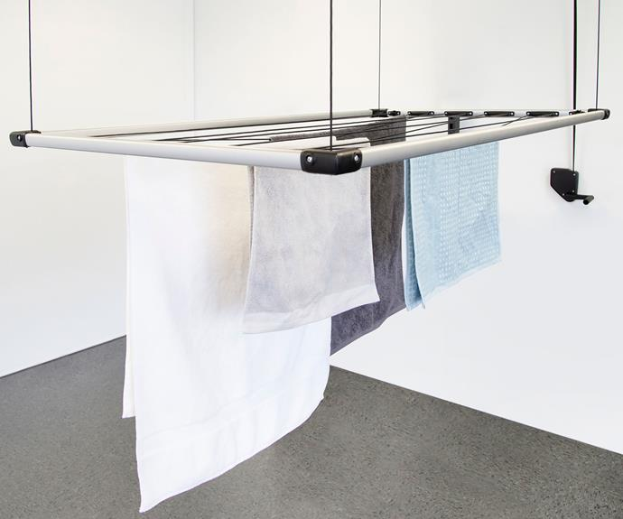 """Retractable airers like [Hills' Premium 14m ceiling airer](https://www.hillshome.com.au/our-product/premium-14m-ceiling-airer/