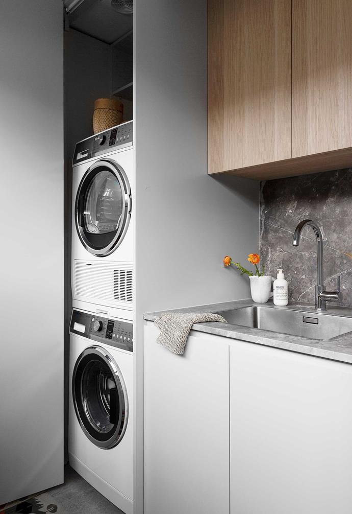 """Fior Di Bosco stone takes centre stage in this Sydney laundry by [Amarot's Alexandra Marrotte](https://amarot.com.au/