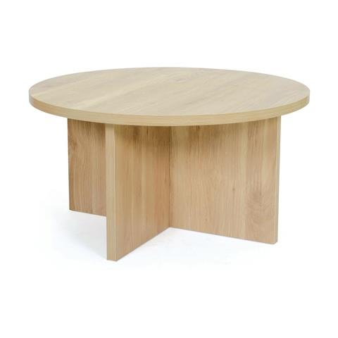 """You'll need the [Oak Look Cross Leg Coffee Table](https://www.kmart.com.au/product/oak-look-cross-leg-coffee-table/3476806