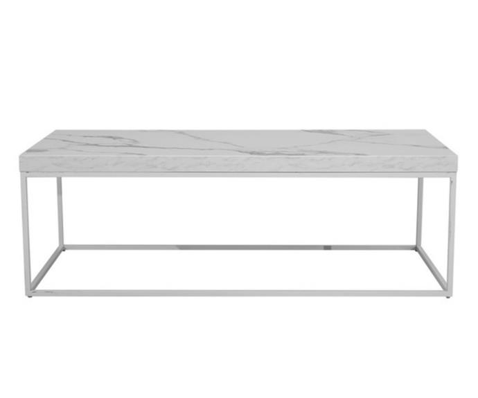 """**Monique coffee table, $179, [Fantastic Furniture](https://www.fantasticfurniture.com.au/Categories/Living-%26-Dining/Living-Room/Coffee-Tables/Monique-Coffee-Table/p/MOQCTBRECOOOMDMWHI