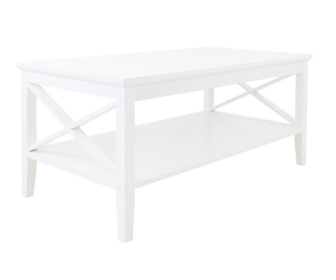 """**Long Island coffee table, $135, [Catch](https://www.catch.com.au/product/long-island-coffee-table-2-tier-white-storage-shelf-home-office-living-room-furniture-4839728