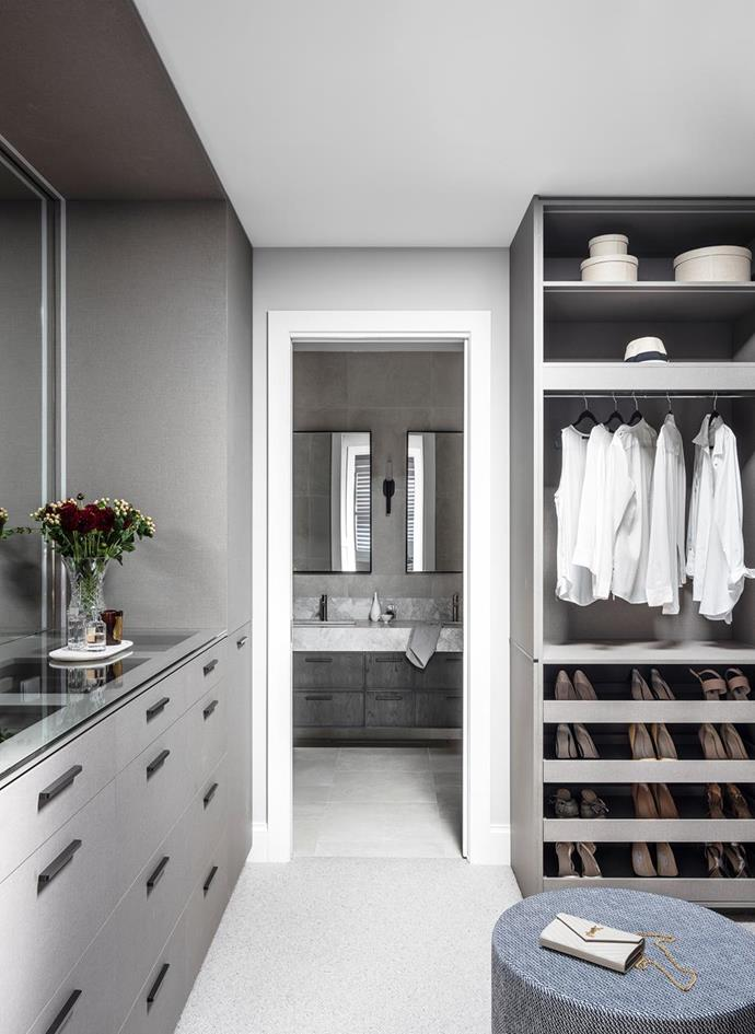 """The custom joinery in the sophisticated walk in wardrobe features Laminex panels and Hafele hardware, tones that pair perfectly in this [elegantly revamped Californian bungalow](https://www.homestolove.com.au/sophisticated-california-bungalow-reamp-22278
