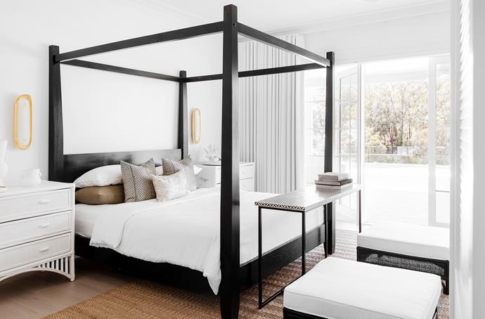 Retreat bed, Chloe drawers and Sunbury ottomans, all Oz Design Furniture. Bedlinen, Cultiver. Samos wall lights, The Montauk Lighting Co. Jenga console, Lounge Lovers. Kiaan rug, Provincial Home Living.