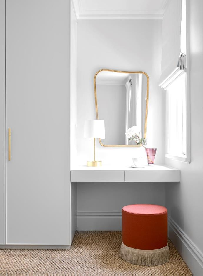 """The dressing room and walk in wardrobe in this [elegant 1890s terrace house](https://www.homestolove.com.au/elegant-1890s-terrace-transformation-22429