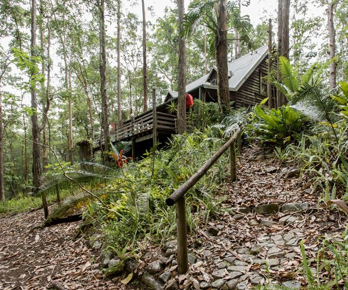 The cabin is surrounded by trees.