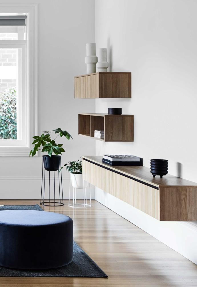 """**Living** Custom joinery adds ample storage space. Menu planters, [Simple Form](https://simpleform.com.au/