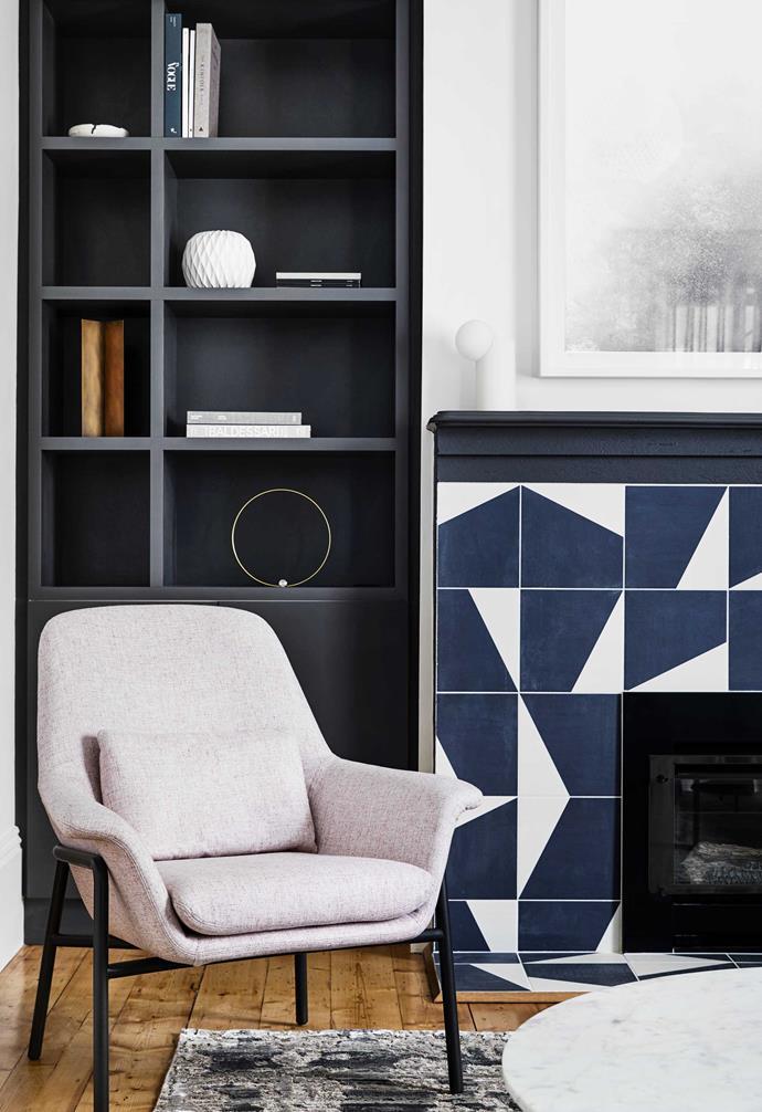 "**Formal living** Mutina 'Puzzle' tiles in Edge Smoke from [Urban Edge Ceramics](https://www.urbanedgeceramics.com.au/|target=""_blank""|rel=""nofollow"") surround the fireplace. Camerich 'Noble' armchair, [Collective](https://www.collective-au.com/|target=""_blank""|rel=""nofollow""). Joinery in [Dulux](https://www.dulux.com.au/|target=""_blank""|rel=""nofollow"") Western Myall. Rug, [Behruz Studio](https://www.behruzstudio.com/|target=""_blank""|rel=""nofollow"")."