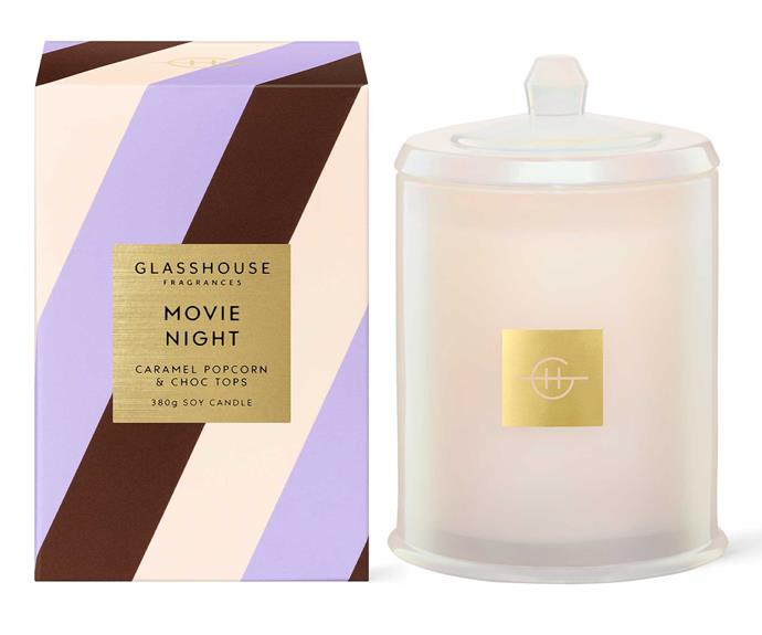 """**Movie Night, $54.95, [Glasshouse Fragrances](https://www.glasshousefragrances.com/collections/sugar-coated/products/sugar-coated-380g-movie-night-candle?variant=39357298442324