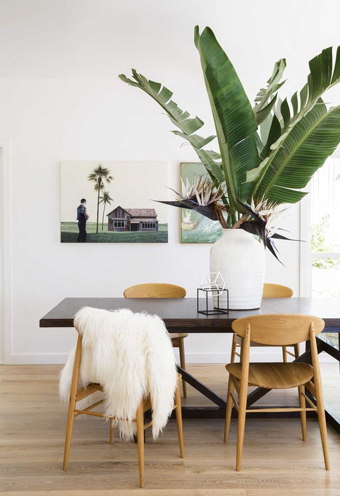 **Dining area** Artworks by Hilary Herrmann and Rex Turnbull add soft tones to the bright space.