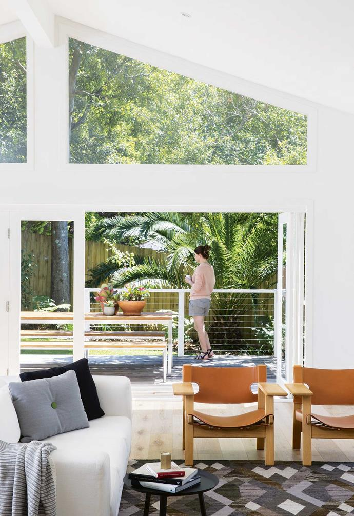 """**Living area** All the light and life of the garden floods into this relaxation zone, beckoning guests, including designer [Suzanne Gorman](http://studiogorman.com/
