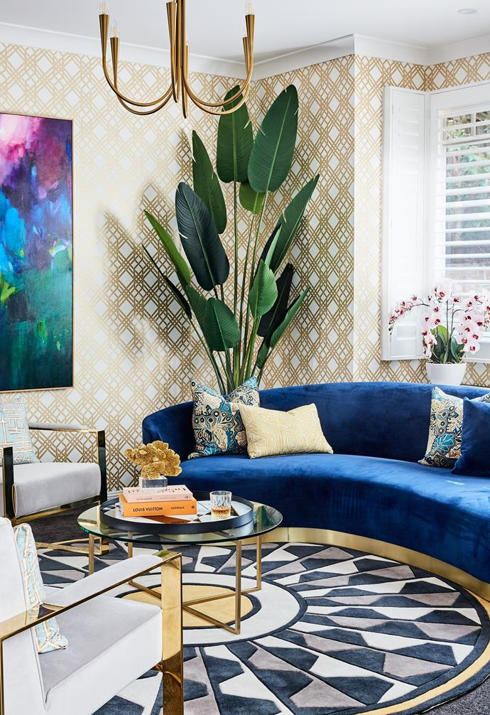 """In this glamorous and grown-up formal lounge room, another Florence Broadhurst wallpaper ('Pagoda') """"has pushed the boundaries and it has definitely paid off,"""" says Robyn."""