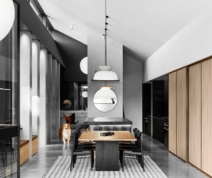Bento dining table by Marcus Balscheit-Balmain, Anton dining chairs, Haly mirror, Napols rug, all Surround.  Inax 'Sairin' wall tiles, Artedomus. Vintage Butterfly chair, Miguel Meirelles Antiques. Pulpo Lake bowl, Domo. Hat pendant light by South Drawn.