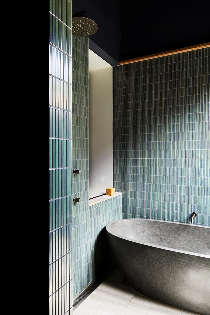 Phoenix 'Vivid' twin-rail shower, Reece. Renoir stone bath, Natural Stone Bath Worx. Kiln basins, Robert Gordon Australia. Floor tiles, Pavers Plus.