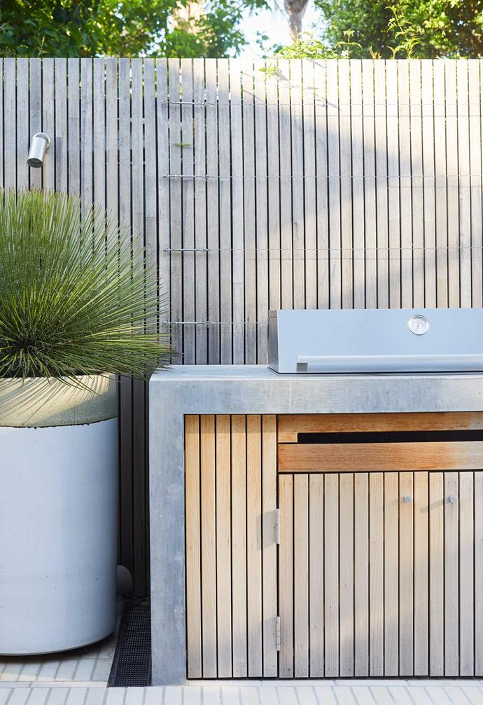 Strip-finished concrete (where the formwork is removed and the surface smoothed with a trowel) extends from the steps and seating to the barbecue surround.