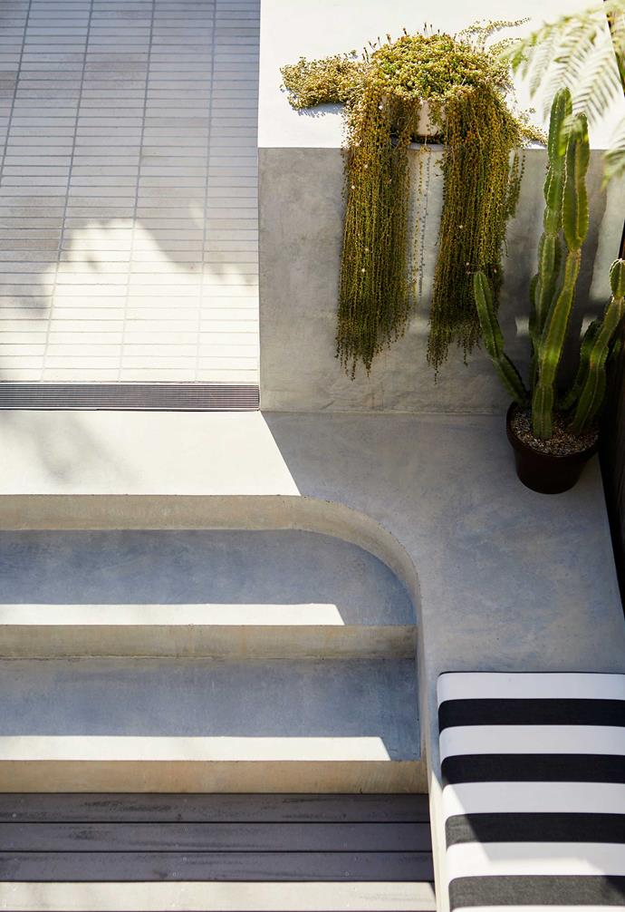 Concrete's versatility is shown in its application for steps and seating.