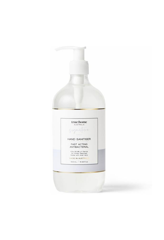 """**True Home Hand Sanitiser (500ml), $19.95, [Myer](https://www.myer.com.au/p/true-home-hand-sanitiser-500ml