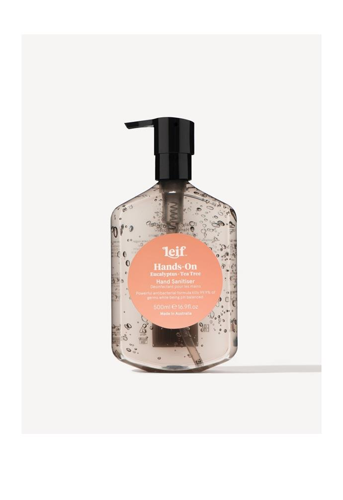 """**Hands-On Gel Hand Sanitiser with Eucalyptus and Tea Tree, $45, (500ml) [Aura Home](https://www.aurahome.com.au/leif-hands-on-gel-hand-sanitiser-500ml