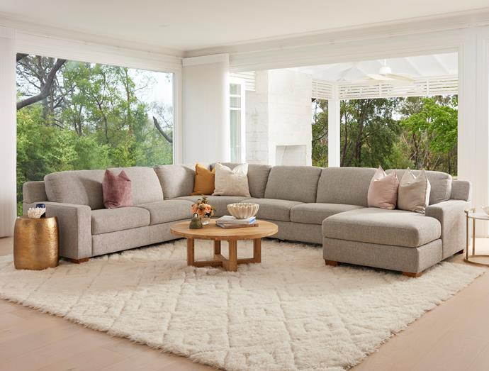 The Cooper modular sofa can be fully customised using Plush's digital sofa builder, where you can select the cover and configuration. Photo: Supplied.