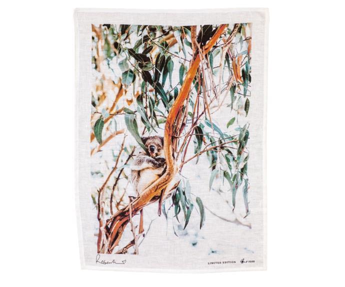 "**[Koala Souvenir Tea Towel, $68, Kara Rosenlund](https://shop.kararosenlund.com/koala-souvenir-tea-towel/|target=""_blank""|rel=""nofollow"")** <br></br> Photographer Kara Roselund, who's work centres around Australia's natural landscape, fauna and flora, raised a whopping $200,000 for Wires, through her 'Koala Crisis, Bushfire Recovery' GoFundMe fundraiser."