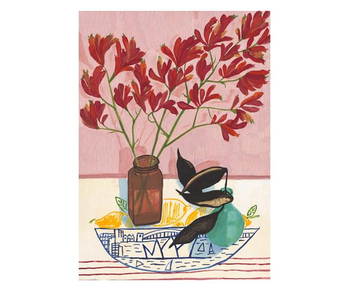 """[**Kangaroo Paw & Pods on Ken Done Cloth art print by Melanie Vugich, $175, Melanie Vugich**](https://www.melanievugich.com/product/kangaroo-paw-pods-on-ken-done-cloth/