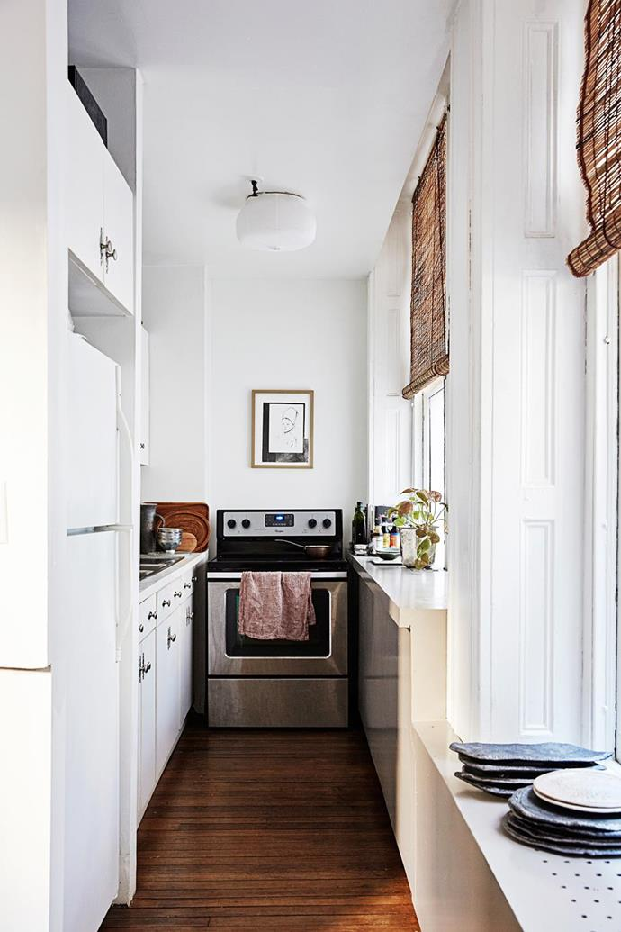 """The kitchen in this classic [New York loft apartment](https://www.homestolove.com.au/a-classic-new-york-loft-apartment-4267