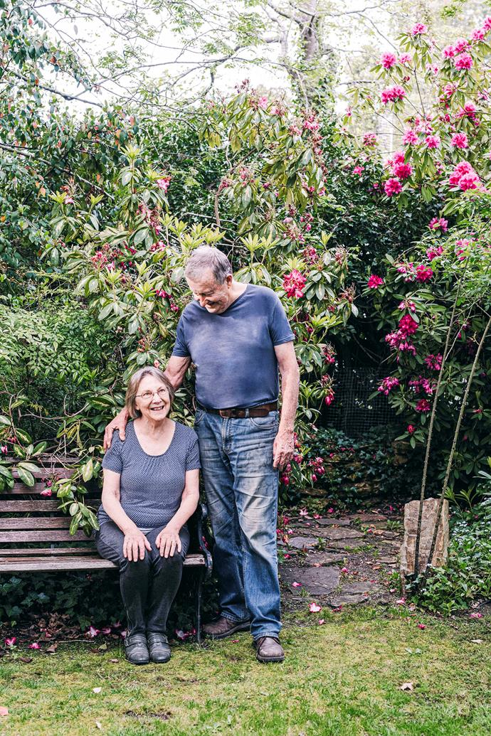 """The Shaws in the garden of their 1920s """"weatherboard shack""""."""