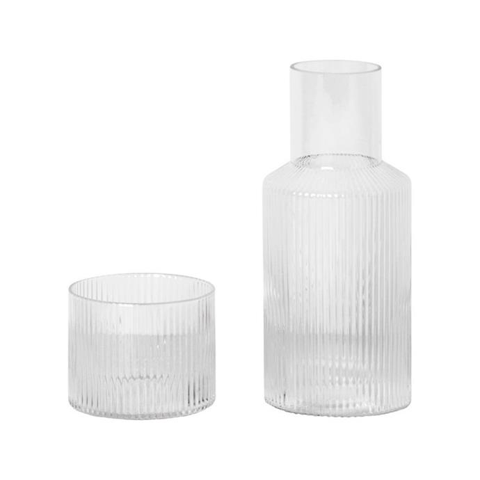 """**ferm LIVING Ripple Carafe Set, $79, [Designstuff](https://www.designstuff.com.au/product/ferm-living-ripple-carafe-set
