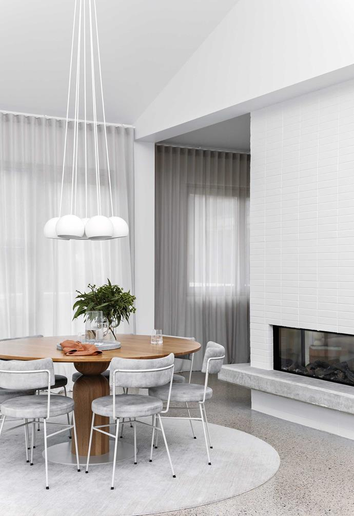 """**Dining area** A Toss B 'Big Sphere' pendant light from [Hub](http://www.hubfurniture.com.au/