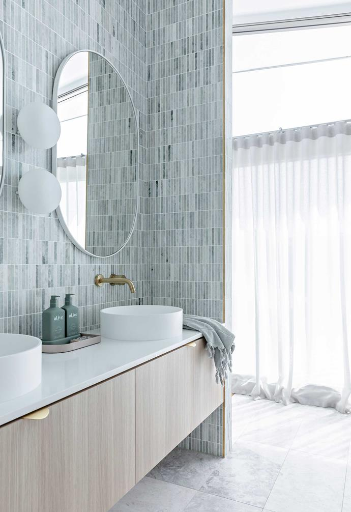 """**Main ensuite** Honed Carrara Stax tiles by Vulcano and custom joinery by [McGee Projects](https://www.mcgeeprojects.com.au/