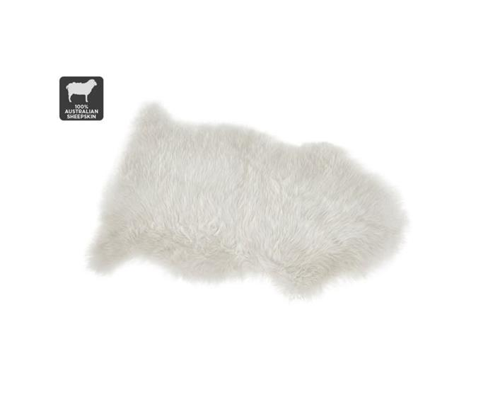 """**Shangri-La 100% Australian Sheepskin Rug in white, $59.99, [Matt Blatt](https://www.mattblatt.com.au/mb/buy/shangri-la-100-australian-sheepskin-rug-white-90x50cm-shangri-la/