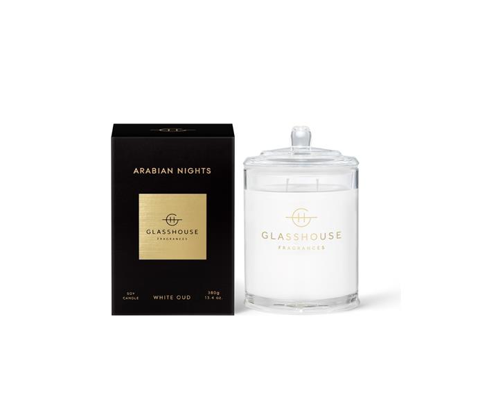 """**Arabian Nights Triple Scented Soy Candle 380g, $49.95, [Glasshouse Fragrances](https://www.glasshousefragrances.com/collections/home-fragrance-candles/products/380g-candle-arabian-nights?variant=31377664376916