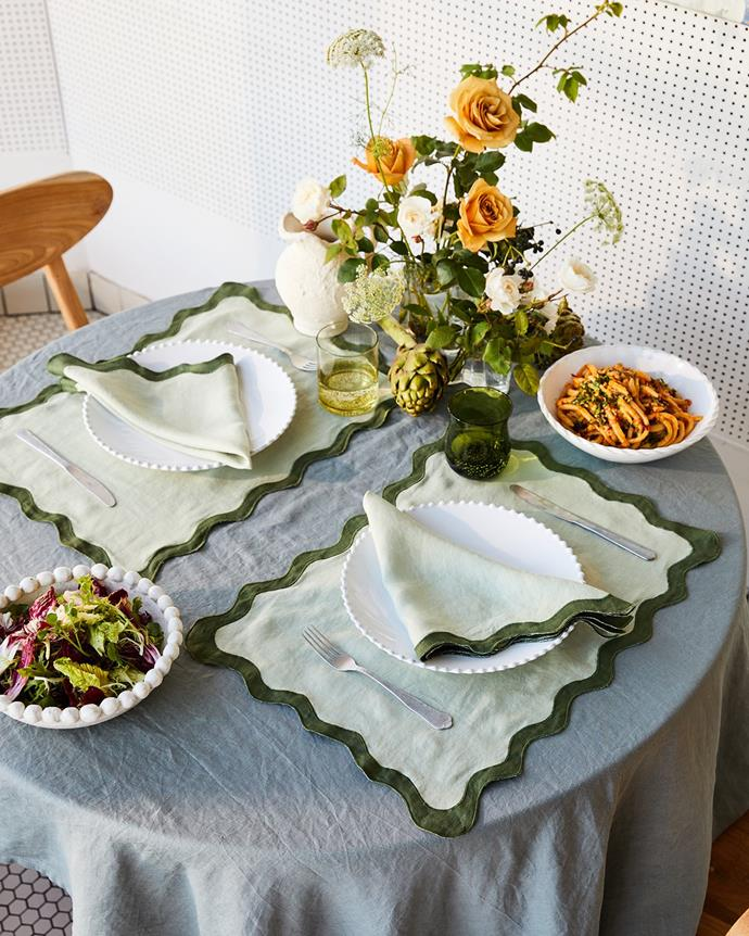 """**100% Linen Scalloped Placemats in Sage & Olive (Set of Four), $80, [Bed Threads](https://bedthreads.com.au/collections/tableware/products/100-linen-scalloped-placemats-in-sage-olive-set-of-four