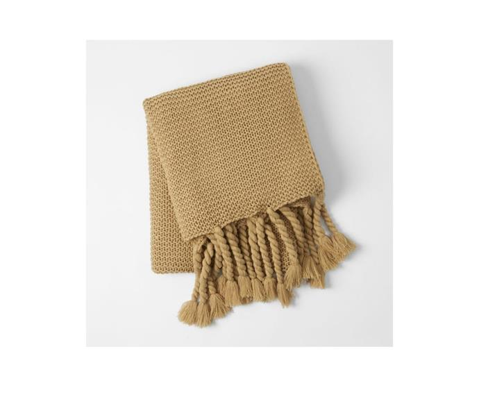 """**Morgan & Finch Chunky Throw, $69.95, [Bed, Bath N' Table](https://www.bedbathntable.com.au/homewares/throws/chunky-mustard-070103