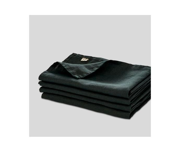 """**100% Linen Napkin Set in Pine, $40, [In Bed](https://inbedstore.com/collections/napkins/products/100-linen-napkin-set-in-pine
