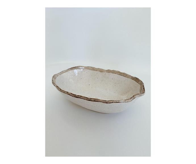 """**Shirokaratsu Oval Bowl, $49, [The Beach People](https://thebeachpeople.com.au/collections/home/products/shirokaratsu-oval-bowl