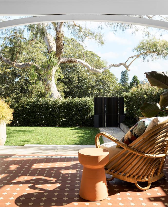 On the verandah, 'Cork' stool from Robert Plumb.