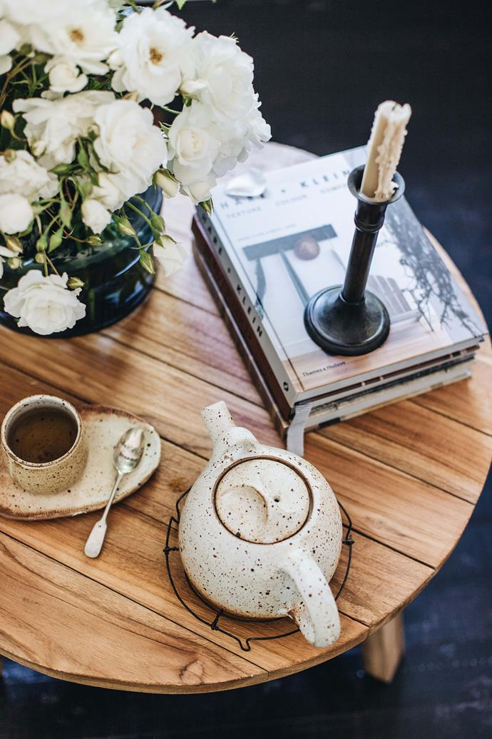 """Tea is served in a pottery teapot and cup by [eco-friendly pottery studio](https://www.homestolove.com.au/eco-friendly-pottery-14027