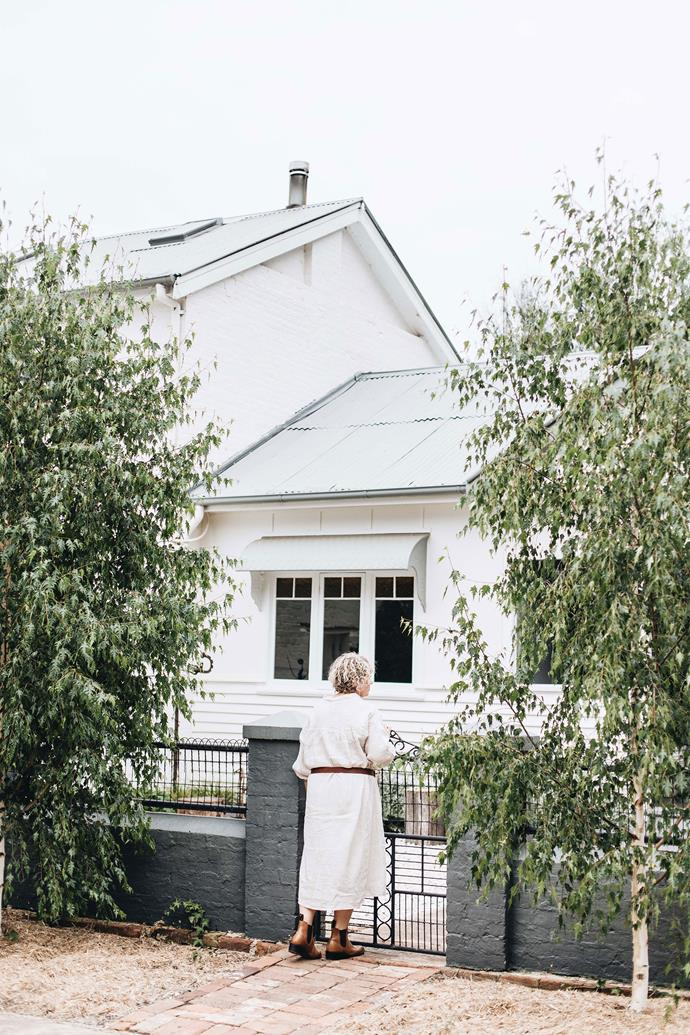 Belinda Sattherthwaite outside Hargans Cottage, which she has renovated with a modern country look.