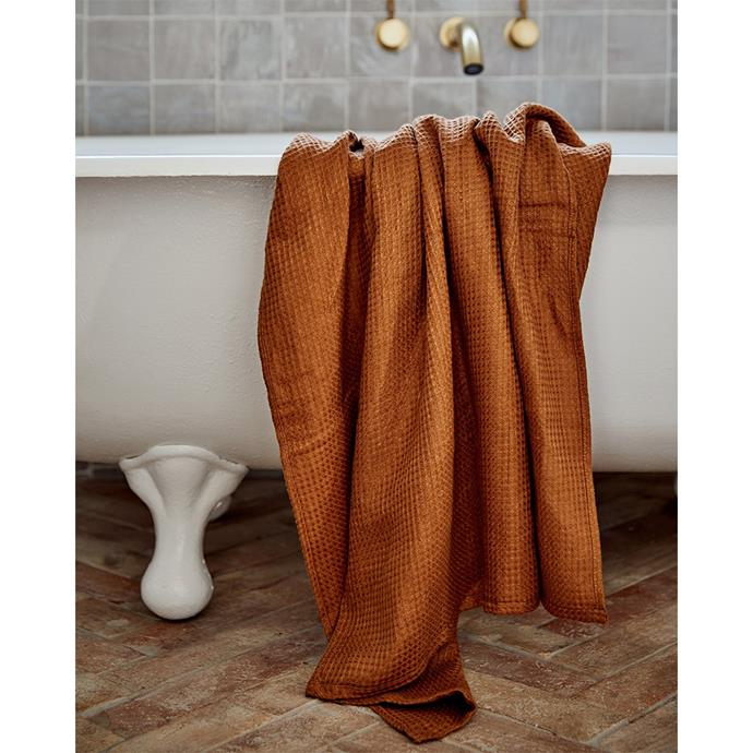"""**100% Linen Waffle Bath Towel in Rust, $80, [Bed Threads](https://bedthreads.com.au/products/100-linen-waffle-bath-towel-in-rust?_pos=10&_sid=2b6569d7d&_ss=r