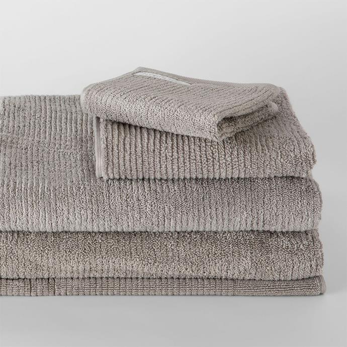 """**Living Textures Towel Collection, bath towel $23.97. [Sheridan](https://www.sheridan.com.au/living-textures-towel-collection-s185-b114-c274-780-ash.html